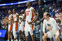 NWA Democrat-Gazette/BEN GOFF @NWABENGOFF<br /> The Florida bench celebrates in the first half vs Arkansas Thursday, March 14, 2019, during the second round game in the SEC Tournament at Bridgestone Arena in Nashville.