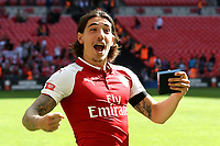 Hector Bellerin of Arsenal celebrates winning the Community Shield during Arsenal vs Chelsea, FA Community Shield Football at Wembley Stadium on 6th August 2017