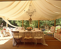 In the garden of a Somerset house, this dramatic tented dining room seats twelve