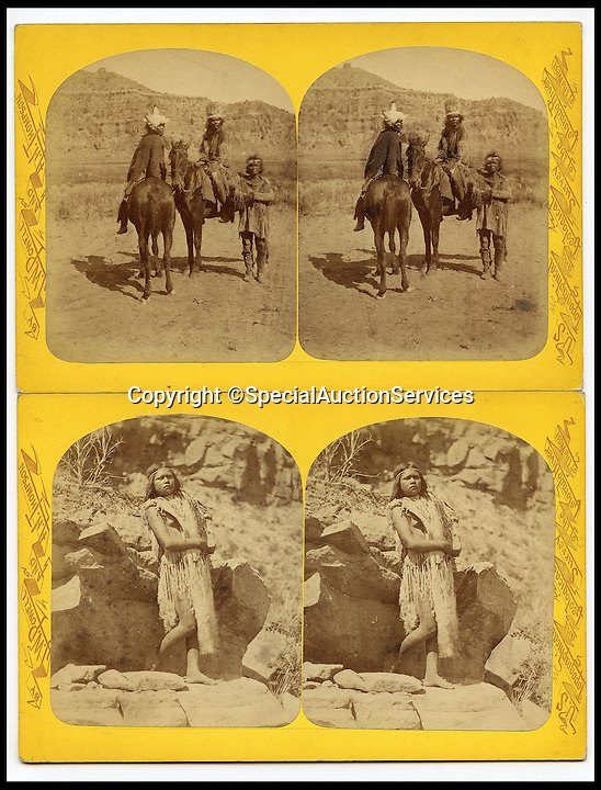 BNPS.co.uk (01202 558833)<br /> Pic: SpecialAuctionServices/BNPS<br /> <br /> *Please use full byline*<br /> <br /> Lot 412-1.  Mounted Indians.<br /> <br /> Poignant insight into a lost world...<br /> <br /> An important collection of Native American Images - including a portrait of the famous Sitting Bull - will be offered in the Photographica sale on Thursday 23rd October and is expected to fetch over &pound;10,000.<br /> <br /> The photographs were collected by the vendor&rsquo;s great grandfather during his travels to America. He first journeyed to North America in 1862 to find out more about Native Indians and subsequently returned in 1866, 1874 and several times after that. The first three trips are described in a book that he wrote and published in 1890 entitled Sport and Adventures amongst the North American Indians.<br /> <br /> The collection comprises 127 images taken by pioneering photographers including American government photographer John Karl Hillers (1843- 1925) and explorer and painter William. H. Jackson. It contains portraits as well as scenes of family and working life that provide a real insight into everyday living in the 1870s &ndash; 1880s. Estimates for the group lots range from &pound;100 to &pound;5,000.<br /> <br /> The photographs were taken using the latest technology of the time; the invention of dry-plate made it possible for photographers to go into the wilds of native USA and document everyday life; and the use of traditional stereoscopic photography means the subjects in the portrait shots appear 3-Dimensional. <br /> <br /> Hugo Marsh, Head of Photographica says: &ldquo;This collection of photographs provides us with a greater understanding and a terrific insight into the lives of Native American Indians of the time. It is rare to see a large collection in such good condition.&rdquo;