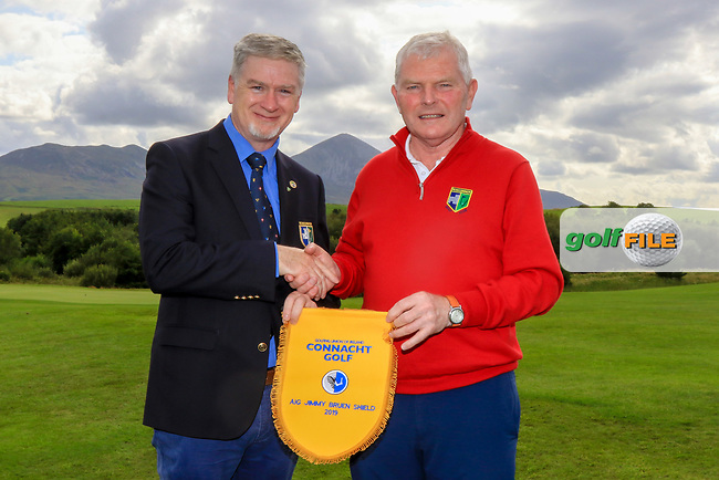 The Roscommon Team, winners of the AIG Jimmy Bruen Shield Connacht Pennant during the AIG Cups & Shields Connacht Finals 2019 in Westport Golf Club, Westport, Co. Mayo on Sunday 11th August 2019.<br /> <br /> Paul Cuttle (Captain Roscommon GC) Tom Judge (Team Captain)<br /> <br /> Picture:  Thos Caffrey / www.golffile.ie<br /> <br /> All photos usage must carry mandatory copyright credit (© Golffile | Thos Caffrey)