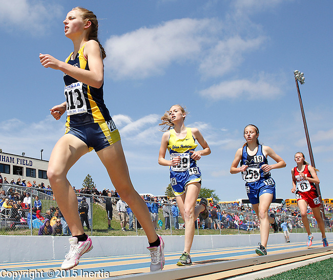 RAPID CITY, SD - MAY 30: Cassie Rawden #313 of Sioux Valley runs down the back stretch of the girls class A 1600 meter run during the 2015 SDHSAA State Track & Field Meet Saturday at O'Harra Stadium in Rapid City, S.D. (Photo by Dick Carlson/Inertia)