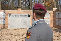 """Auf dem Gelaende des Einsatzfuehrungskommando der Bundeswehr, der Henning-von-Tresckow-Kaserne bei Potsdam, wurde ein Ehrenhain zum Gedenken an die im Einsatz verstorbenen Bundeswehrangehoerigen eingerichtet. In diesem """"Wald der Erinnerunge"""" sind die Gedenkhaine aus den Einsatzgebieten der Bundeswehr errichtet worden. Zum Teil originalgetreu nachgebildet von den Orten in denen die Bundeswehr eingesetzt war und Angehoerige verstorben sind.<br /> Im Bild: Der Ehrenhain Kabul.<br /> 14.11.2014, Potsdam<br /> Copyright: Christian-Ditsch.de<br /> [Inhaltsveraendernde Manipulation des Fotos nur nach ausdruecklicher Genehmigung des Fotografen. Vereinbarungen ueber Abtretung von Persoenlichkeitsrechten/Model Release der abgebildeten Person/Personen liegen nicht vor. NO MODEL RELEASE! Don't publish without copyright Christian-Ditsch.de, Veroeffentlichung nur mit Fotografennennung, sowie gegen Honorar, MwSt. und Beleg. Konto: I N G - D i B a, IBAN DE58500105175400192269, BIC INGDDEFFXXX, Kontakt: post@christian-ditsch.de<br /> Urhebervermerk wird gemaess Paragraph 13 UHG verlangt.]"""