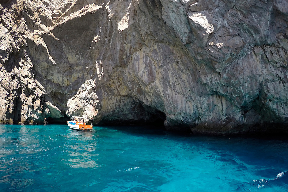 A boat tour is seen on Monday, Sept. 21, 2015, off the island of Capri in Italy. (Photo by James Brosher)