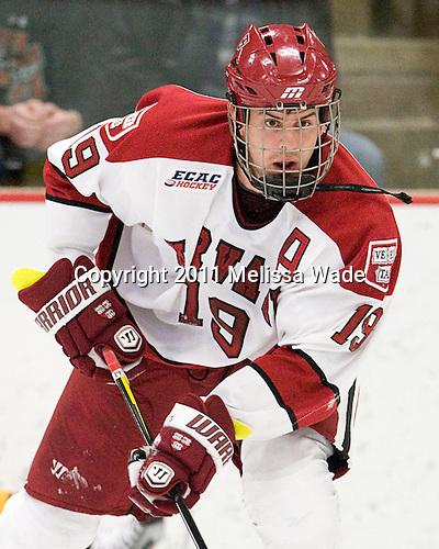 Alex Killorn (Harvard - 19) - The Harvard University Crimson and Quinnipiac University Bobcats played to a 2-2 tie on Saturday, November 5, 2011, at Bright Hockey Center in Cambridge, Massachusetts.