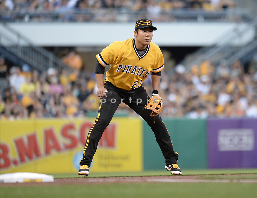 Pittsburgh Pirates Jung Ho Kang (27) during a game against the Los Angeles Dodgers on June 26, 2016 at PNC Park in Pittsburgh, PA. The Dodgers beat the Pirates 4-3.