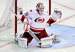 31 March 2010: Carolina Hurricanes' goaltender Cam Ward in first period action against the Montreal Canadiens at the Bell Centre in Montreal, Quebec, Canada. The Hurricanes defeated the Canadiens 2-1. Mandatory Credit: Ed Wolfstein Photo