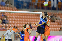 Houston, TX - Sunday June 19, 2016: Morgan Brian, Yael Averbuch, Ellie Brush during a regular season National Women's Soccer League (NWSL) match between the Houston Dash and FC Kansas City at BBVA Compass Stadium.