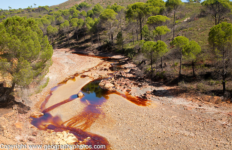 Red iron rich water Rio Tinto river valley, Minas de Riotinto, Huelva, Spain