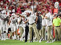 NWA Democrat-Gazette/CHARLIE KAIJO Arkansas Razorbacks head coach Chad Morris reacts during the third quarter of a football game, Saturday, September 7, 2019 at Vaught-Hemingway Stadium in Oxford, Miss.
