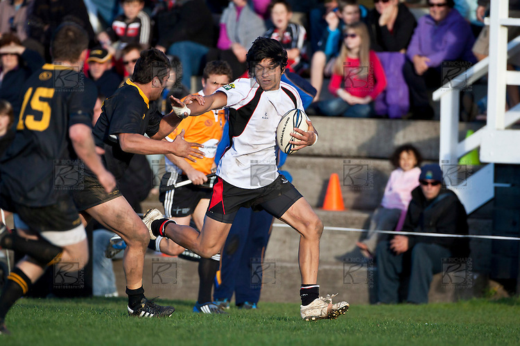 Jamie Gilbert-Clark gets chased down the touchline. Counties Manukau Steelers pre season ITM Cup game against a Bay of Plenty Wasps selection, played at Moore Park Katikati, on July 7th 2010.