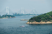Kanmon Strait is the narrow body of water between the main islands of Honshu and Kyushu, Japan.