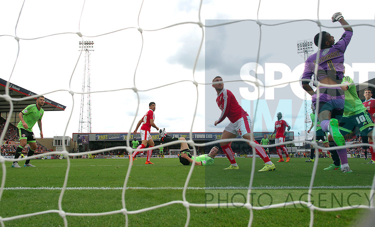Neill Collins of Sheffield United scores the opening goal of the game past Swindon Town goalkeeper Lawrence Vigouroux<br /> - English League One - Swindon Town vs Sheffield Utd - County Ground Stadium - Swindon - England - 29th August 2015