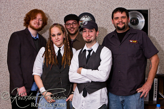 Soundcheck. Candace Brooks Band hang out in the studio with Jim Stearns at WHJY.