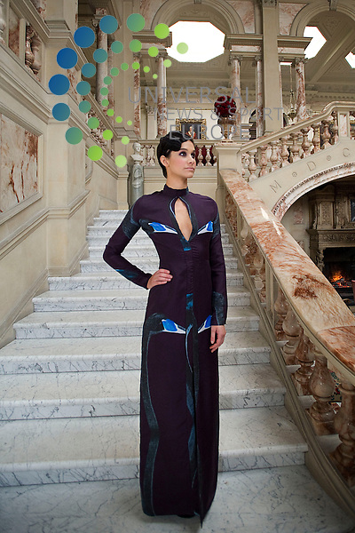 .Launch of the Scottish/Italian Fashion Show which will take place at Gosford House in East Lothian to raise money for charity, Longniddry, Scotland, 28th January, 2013. Pictured Model Emily Sharji wears design by Iona Crawford.Picture:Scott Taylor Universal News And Sport (Europe) .All pictures must be credited to www.universalnewsandsport.com. (Office)0844 884 51 22.