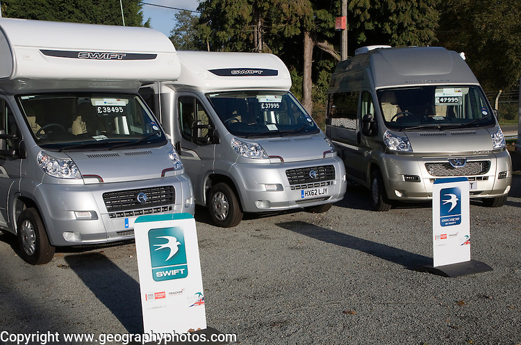 Used Swift motorhomes on sale in forecourt of dealership, Martlesham, Suffolk, England