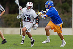 Los Angeles, CA 04/02/10 - Kellock Irvin (UCSB #3) and Michael Hanover (LMU #25) in action during the UCSB-LMU MCLA SLC conference lacrosse game at Loyola Marymount University.