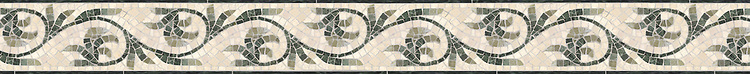 """4"""" Romanza border, a hand-cut mosaic shown in polished Botticino, Verde Luna, Verde Alpi, and Spring Green by New Ravenna."""
