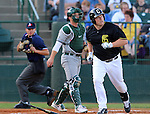 SIOUX FALLS, SD - MAY 20:  Chase Burch #23 from the Sioux Falls Canaries watches the ball against the Gary Southshore Railcats in the first inning Tuesday evening at the Canaries Stadium.  (Photo by Dave Eggen/Inertia)