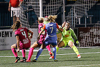 Rochester, NY - Saturday Aug. 27, 2016: Elizabeth Eddy, Abigail Dahlkemper, Kealia Ohai, Sabrina D'Angelo during a regular season National Women's Soccer League (NWSL) match between the Western New York Flash and the Houston Dash at Rochester Rhinos Stadium.