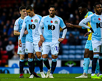 Blackburn Rovers' Darragh Lenihan anticipates a corner, with Jack Rodwell and Danny Graham<br /> <br /> Photographer Alex Dodd/CameraSport<br /> <br /> The EFL Sky Bet Championship - Blackburn Rovers v Rotherham United - Saturday 10th November 2018 - Ewood Park - Blackburn<br /> <br /> World Copyright &copy; 2018 CameraSport. All rights reserved. 43 Linden Ave. Countesthorpe. Leicester. England. LE8 5PG - Tel: +44 (0) 116 277 4147 - admin@camerasport.com - www.camerasport.com