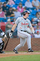Nick Weglarz (8) of the Kinston Indians follows through on his swing versus the Winston-Salem Warthogs at Ernie Shore Field in Winston-Salem, NC, Saturday May 17, 2008.