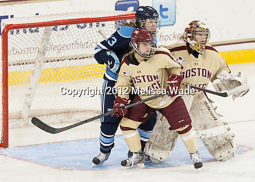 Emily Pfalzer (BC - 14), Tori Pasquariello (Maine - 13), Corinne Boyles (BC - 29) - The Boston College Eagles defeated the visiting University of Maine Black Bears 10-0 on Saturday, December 1, 2012, at Kelley Rink in Conte Forum in Chestnut Hill, Massachusetts.