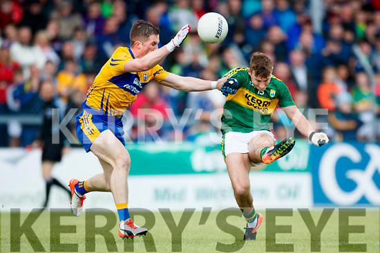 James O'Donoghue Kerry in action against Eoin Cleary Clare in the Munster Senior Football Championship Semi Final in Ennis on Sunday.