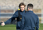 St Johnstone Training…27.10.17<br />Murray Davidson pictured talking with Michael O'Halloran during training this morning at McDiarmid Park ahead of tomorrows trip to Partick Thistle<br />Picture by Graeme Hart.<br />Copyright Perthshire Picture Agency<br />Tel: 01738 623350  Mobile: 07990 594431
