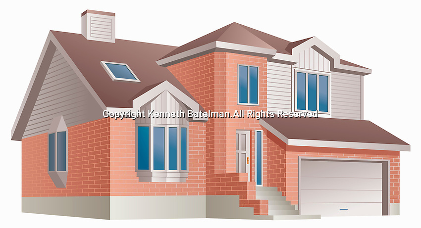 Detached house with garage and front steps