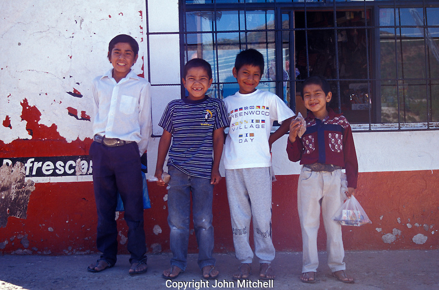 Young Tarahumara Indian boys in the village of Cerocahui in the Copper Canyon region, Chihuahua, Mexico