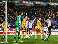 Bolton Wanderers' players appeal for a late penalty<br /> <br /> Photographer Andrew Kearns/CameraSport<br /> <br /> The EFL Sky Bet Championship - Bolton Wanderers v Wigan Athletic - Saturday 1st December 2018 - University of Bolton Stadium - Bolton<br /> <br /> World Copyright © 2018 CameraSport. All rights reserved. 43 Linden Ave. Countesthorpe. Leicester. England. LE8 5PG - Tel: +44 (0) 116 277 4147 - admin@camerasport.com - www.camerasport.com