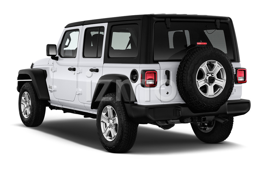 Car pictures of rear three quarter view of a 2020 Jeep Wrangler Unlimited Sport 5 Door SUV angular rear