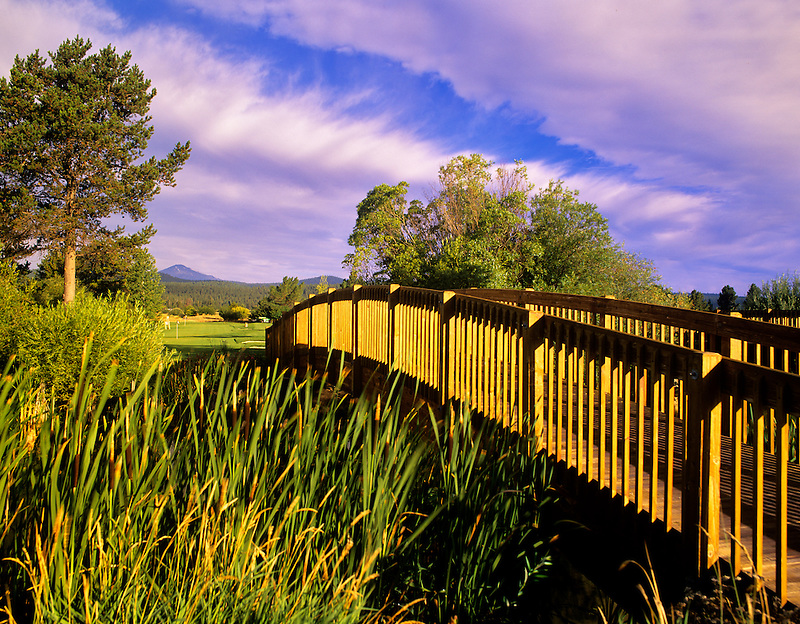Footbridge with clouds at Sunriver Resort, Oregon