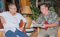 Professor Hinrich Kaiser of Victor Valley College, Victorville, California (right), presents his Initial Report on the Herpetofauna of Timor-Leste to President Jose Ramos-Horta at the President's home in Dili on February 4, 2010.  Professor Kaiser and his students have been conducting the first scientific survey of the reptiles and amphibians of Timor-Leste (East Timor).