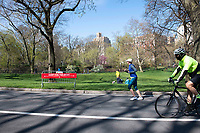New York, New York City, during the time of the Coronavirus. People wearing masks and social distancing in Central Park.