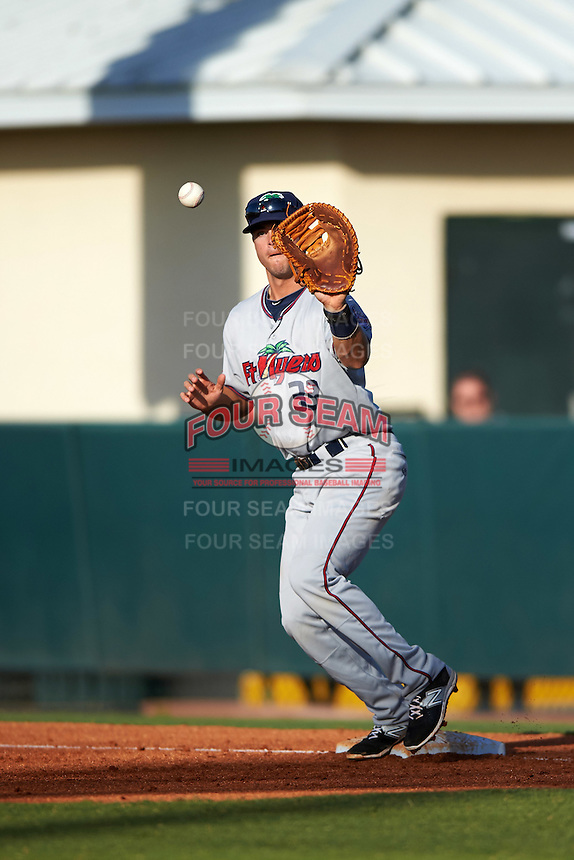 Fort Myers Miracle first baseman Trey Vavra (33) during a game against the Daytona Tortugas on April 17, 2016 at Jackie Robinson Ballpark in Daytona, Florida.  Fort Myers defeated Daytona 9-0.  (Mike Janes/Four Seam Images)