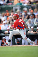 Philadelphia Phillies outfielder Ben Revere (2) during a spring training game against the Baltimore Orioles on March 7, 2014 at Ed Smith Stadium in Sarasota, Florida.  Baltimore defeated Philadelphia 15-4.  (Mike Janes/Four Seam Images)