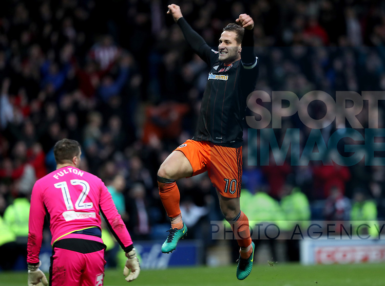 Billy Sharp of Sheffield United celebrates his team scoring during the English Football League One match at Proact Stadium, Chesterfield. Picture date: November 13th, 2016. Pic Jamie Tyerman/Sportimage