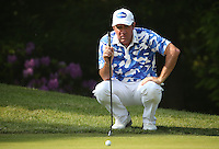 Scott Hend (AUS) has a long putt down the slope of the 16th during Round Three of the 2016 BMW PGA Championship over the West Course at Wentworth, Virginia Water, London. 28/05/2016. Picture: Golffile   David Lloyd. <br /> <br /> All photo usage must display a mandatory copyright credit to © Golffile   David Lloyd.