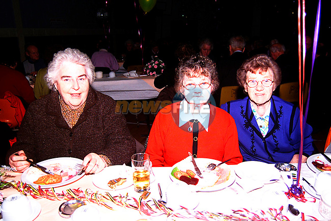.May Raffty, Piggie Hillird & Nuala McKenna at the Senior citizens party in Ardee parish centre..Pic Tony Campbell/Newsfile