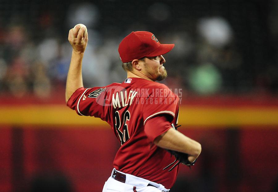 May 9, 2012; Phoenix, AZ, USA; Arizona Diamondbacks pitcher Wade Miley throws in the first inning against the St. Louis Cardinals at Chase Field. Mandatory Credit: Mark J. Rebilas-