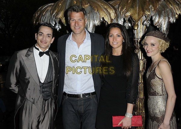 "Dan Lobb ( 2nd fr left ) & guests.The ""The Great Gatsby"" press night, Sadler's Wells Theatre, London, England..May 14th, 2013.half length jacket black dress costume vintage .CAP/CAN.©Can Nguyen/Capital Pictures."