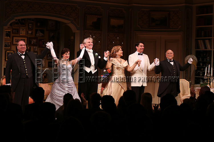 Blake Hammond, Anna Chlumsky, Douglas Sills, Renee Fleming, Jerry O'Connell and Scott Robertson during the Broadway Opening Night Performance Curtain Call for 'Living on Love' at The Longacre Theatre on April 20, 2015 in New York City.
