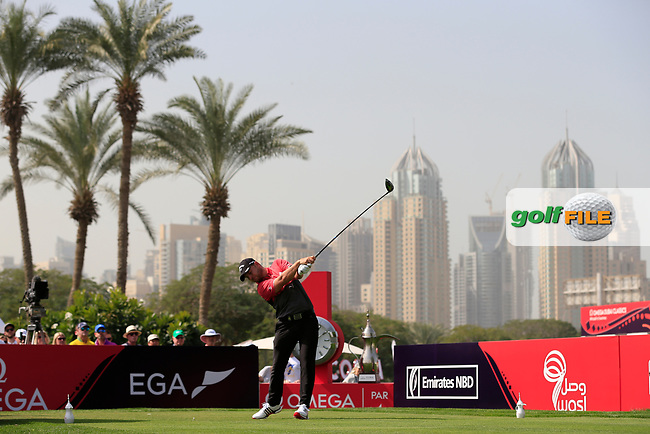 Jordan Smith (ENG) on the 1st tee during Round 4 of the Omega Dubai Desert Classic, Emirates Golf Club, Dubai,  United Arab Emirates. 27/01/2019<br /> Picture: Golffile | Thos Caffrey<br /> <br /> <br /> All photo usage must carry mandatory copyright credit (© Golffile | Thos Caffrey)