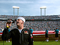 RICK WILSON PHOTO--11/18/07--Former Jacksonville, Fl. resident and American Idol contestant Phil Stacey sings the National Anthem prior to kick-off between the Jacksonville Jaguars and San Diego Chargers during the Jags 24-17 victory Sunday November 18, 2007 at Jacksonville Municipal Stadium in Jacksonville, Fl.  (The Florida Times-Union, Rick Wilson)