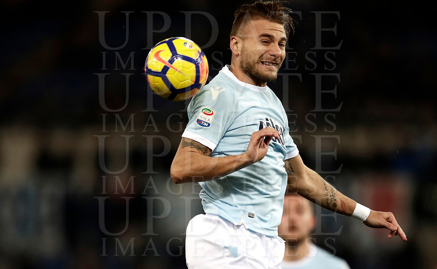 Calcio, Serie A: SS Lazio vs Hellas Verona, Roma, stadio Olimpico, 19 febbraio 2018.<br /> Lazio's Ciro Immobile in action during the Italian Serie A football match between SS Lazio and Hellas Verona at Rome's Olympic stadium, February 19, 2018.<br /> UPDATE IMAGES PRESS/Isabella Bonotto