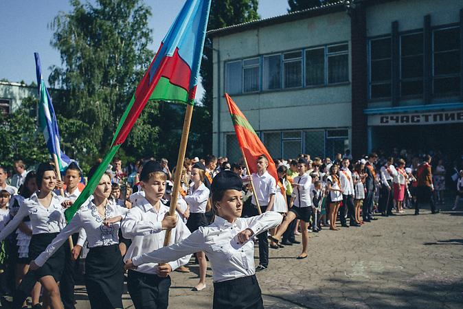 Last bell manifestation in Ribnita, Transnistria