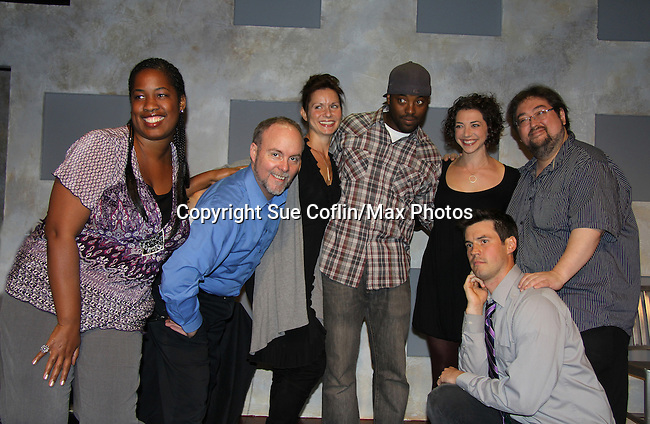 """One Life To Live's Florencia Lozano """"Tea Delgado"""" stars with Scott Sickles (R) (writer OLTL and Artistic Director WorkShop Theatre Co) along with Richard Kent Green (blue shirt), Cecily Benjamin (L), Amanda Sayle (2nd R) and Jonathan Pereira (kneeling) in """"Verbatim Verboten - NYC"""" on October 18, 2010 at the WorkShop Theater, NYC. (Photo by Sue Coflin/Max Photos)"""
