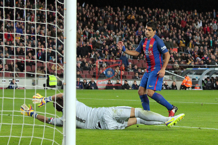 Copa del Rey 2016/2017 - 1/8 final vuelta.<br /> FC Barcelona vs Athletic Club: 3-1.<br /> Gorka Iraizoz vs Luis Suarez.